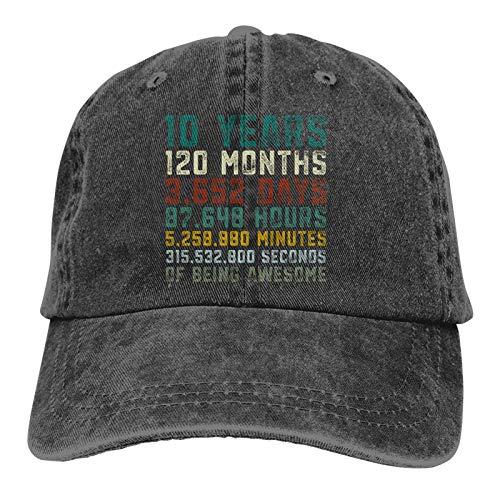 DRXX 10 años de Edad, Sombreros de décimo cumpleaños para Hombres, Mujeres, Gorra de béisbol Vintage, Sombrero de Playa para papá, Negro