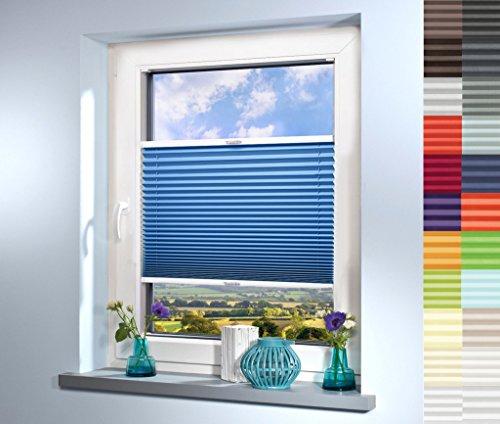 Sun World Plissee nach Maß, deutsche Wertarbeit, hochqualitative Wertarbeit, für Fenster und Türen, alle Größen, Maßanfertigung, Jalousie, Faltrollo (Farbe: Blau, Höhe: 111-120cm, Breite: 71-80cm)