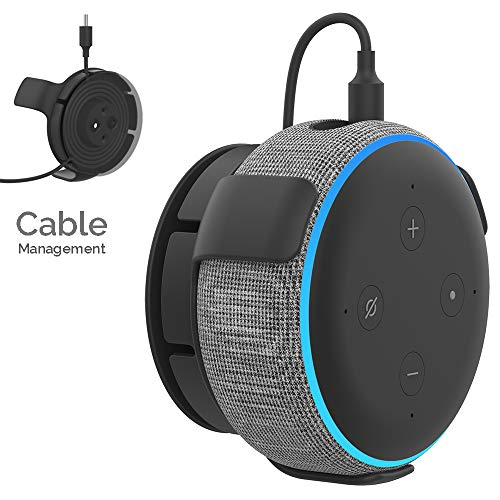 AHASTYLE Echo Dot Wall Mount Hanger Holder ABS [Built-in Cable Management] for Echo Dot 3rd Generation Smart Home Speakers(Black)