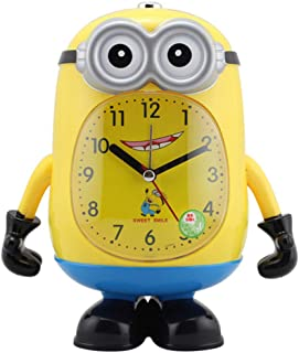 Bedroom Bedside Alarm Clock, Cartoon Two-Tone Scanning Lamp Clock Versatile Cute Talking Children Students Bedside Mute Alarm Clock,B