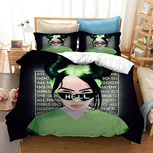 Billie Eilish juego de ropa de cama con funda nórdica 3D para adultos y adolescentes, funda nórdica suave y cómoda, ropa cama individual para cama doble, textiles para el hogar-E_173x218cm (3pcs)