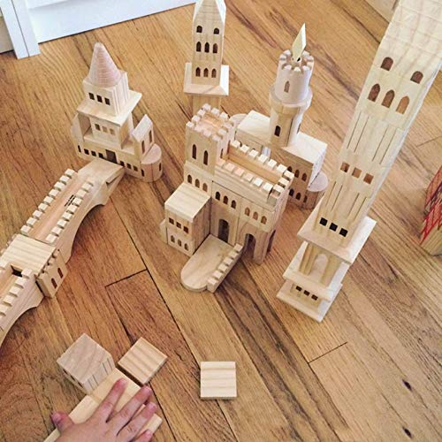 Elibeauty 75 Pcs Wooden Castle Building Blocks,Educational Toy for Boys and Girls, Wooden Building Blocks Set for Kids