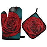 XCNGG Guantes para microondas Oven Mitts and Pot Holders 2pcs Set,Heat Resistant Soft Lining with Non-Slip Surface Oven Gloves,Perfect for Kitchen Baking BBQ Grilling- Rose Flower Nature Painting