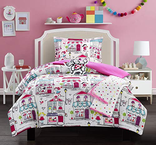 Chic Home Kid's City 4 Piece Comforter Set Quaint Town Theme Youth Design Bedding-Throw Blanket Decorative Pillow Sham Included, Twin