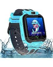 Smartwatch barnklocka vattentät barn smartklocka för pojkar och flickor, smartklocka med telefon SOS LBS spårare röstchatt, födelsedagspresent för barn 3-12ans, blå