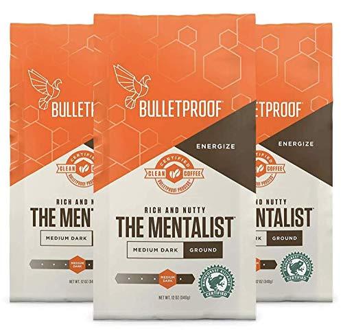 Bulletproof The Mentalist Ground Coffee 3-Pack, Medium Dark Roast, Keto Friendly, Certified Clean Coffee, Rainforest Alliance, Bundle