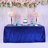 TRLYC Royal Blue Sequin Tablecloth - 60x84inch Glitter Tablecloth Rectangle Party Wedding Christmas Table Cloth