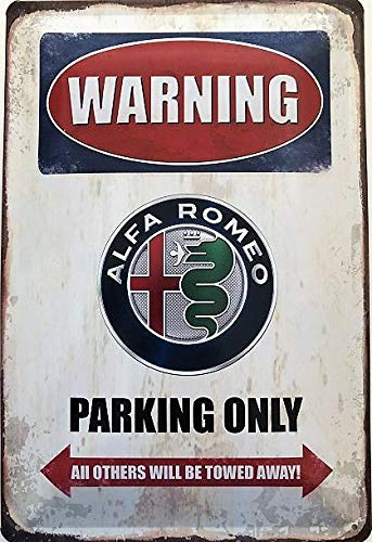 Deko7 Blechschild 30 x 20 cm Warning Alfa Romeo Parking Only