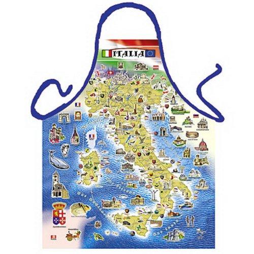 sabuy Grillschürze - Kochschürze - Italien Landkarte - Lustige Motiv Schürze als Geschenk für Grill Fans mit Humor