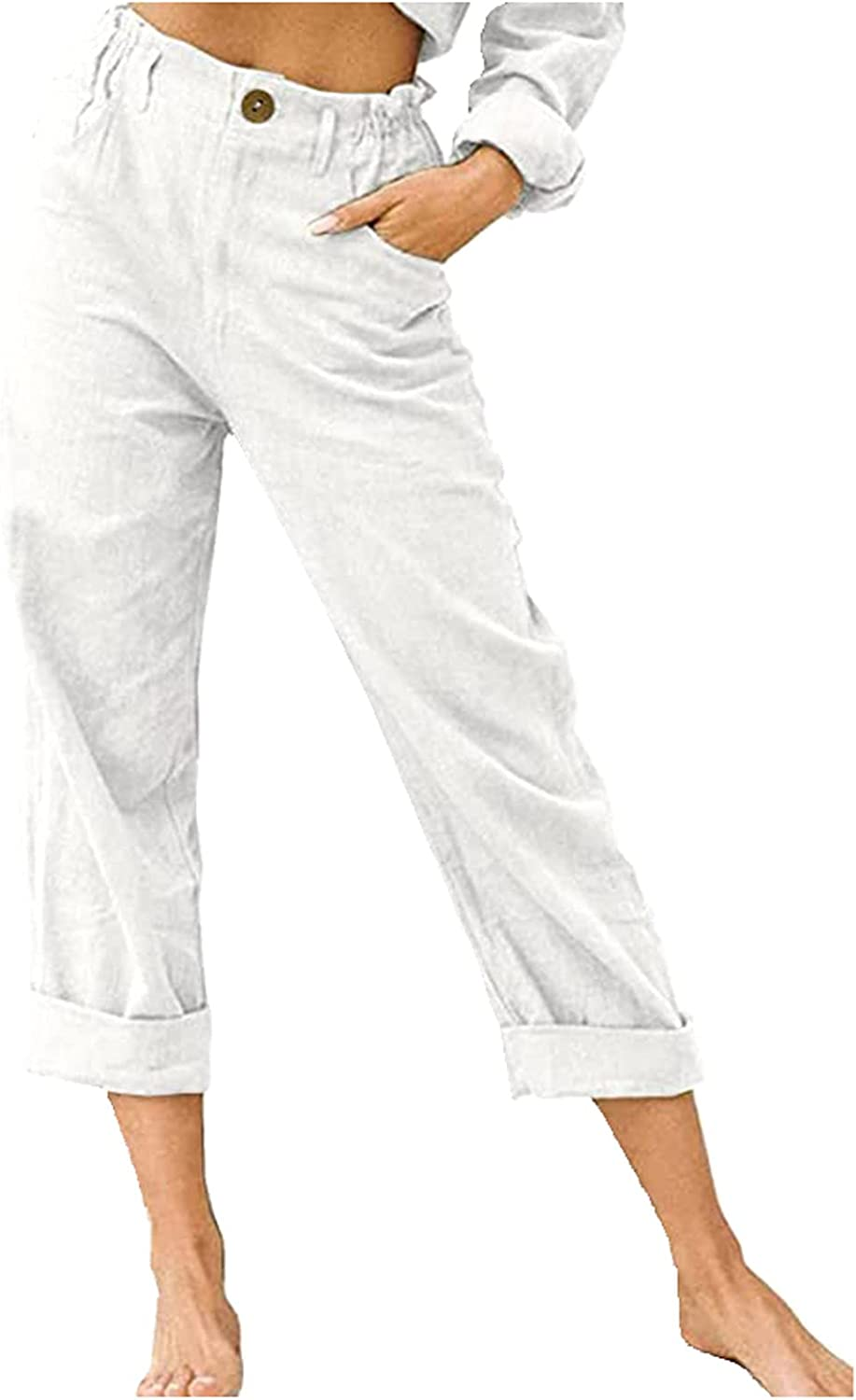 Women's Cotton Linen Long Pants Casual Wide Leg Elastic Waist Flat Front Loose Fit Trousers with Pockets