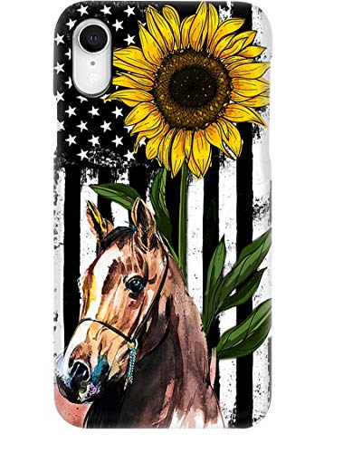 Beautiful Sunflower with Horse Phone Case for Apple iPhone - Glass Case with Unique Fashion Printed Design, Slim Fit, Anti Scratch, Shock Proof,Case Cover Compatible for iPhone,8 Plus/7 Plus