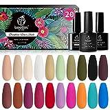 Beetles 20Pcs Gel Nail Polish Kit Fall Colors, with...