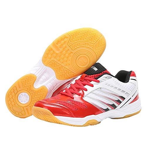 XFQ Mesa De Ping Pong Zapatos, Zapatillas De Deporte Unisex Profesión Bádminton Ligero De Los Zapatos Corrientes Transpirable Antideslizante,Rojo,39EU