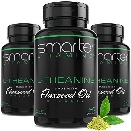 (3 Pack) 250MG L-THEANINE, Calming Alertness + Focus in Organic Flaxseed Oil, Non-GMO & Gluten Free, 150 Liquid Softgels, Natural Anti Stress & Calm L Theanine Pills