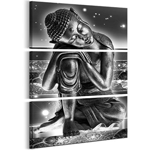 murando - Cuadro en Lienzo Buda 60x90 cm Impresión de 3 Piezas Material Tejido no Tejido Impresión Artística Imagen Gráfica Decoracion de Pared – abstracción Zen Oriental p-C-0008-b-h