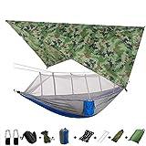 TIMAW Amaca da Campeggio Portatile Leggera e Tenda da Tenda da Sole Rain Fly Tarp Impermeabile zanzariera Hammock baldacchino 210t hammocks in Nylon (Color : Camouflage And Gray)