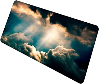 Xxl Mouse Pad Mousepad Xl Teclado Almohadilla para Juegos Gaming Mouse Pad Laptop Rubber Computer Office Desk Mat Dark Cloud Sunshine Scenery 700X400X3Mm