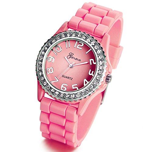 Lancardo Reloj Analógico Elegante de Cuarzo Original Jalea Correa de Silicona Pulsera Electrónica de Moda con Bisel de Diamantes Artificiales Dial con Números Árabes para Mujer Dama (Rosa)