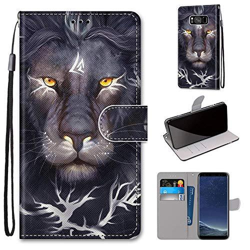Miagon Flip PU Leder Schutzhülle für Samsung Galaxy S8,Bunt Muster Hülle Brieftasche Case Cover Ständer mit Kartenfächer Trageschlaufe,Löwe König