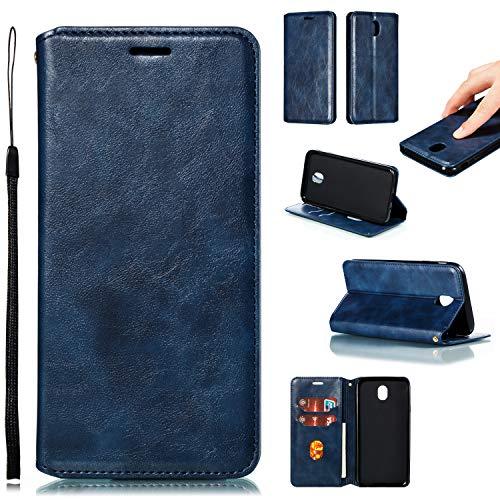 LODROC Galaxy J7 2017 Hülle, TPU Lederhülle Magnetische Schutzhülle [Kartenfach] [Standfunktion], Stoßfeste Tasche Kompatibel für Samsung Galaxy J7 2017/J730F - LOYKB0200164 Blau