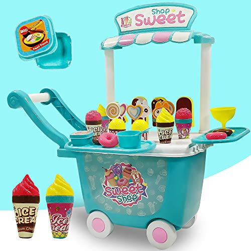 Ice Cream Cart Pretend Play Sets - 45 PCS Role Play Food Toys Dessert Candy...