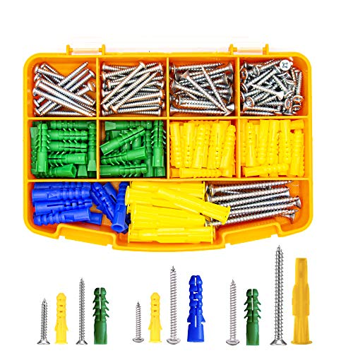 Drywall Anchors with Wall Screws - Wall Anchors and Screw Kit - Set of 260 Pcs - Wall Hanging Kit - Assorted Plastic Anchors and Mounting Screws for Concrete Stucco Dry - Shelf Anchors