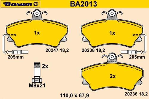 Barum BA2013 Kit de patins de frein, disque de frein