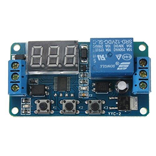 SODIAL(R)(R) Automatizacion DC 12V LED pantalla Temporizador de retraso digital Interruptor de Control Modulo de reles