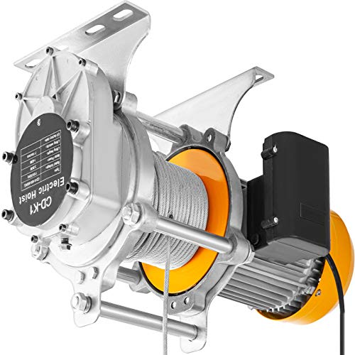 VEVOR Electric Hoist 2200 lbs Electric Winch Automatic, Garage Winch with Wired Remote Control w/Emergency Stop, Electric Lift with Anti-Rotation Oil Wire Rope, Ceiling Hoist 1200 W Copper Motor