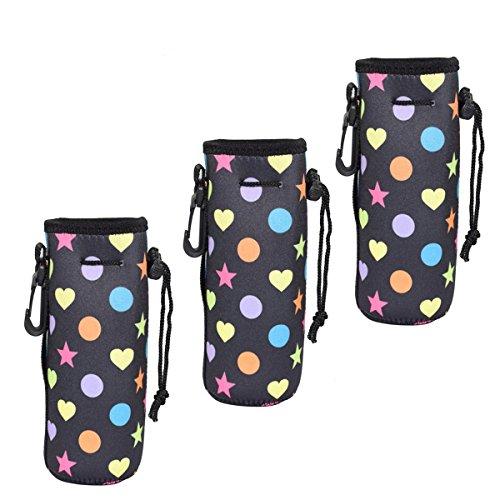 AF WAN Bouteille d'eau Cooler Carrier pour 16Oz - 20oz, Portable Néoprène Insulated Water Gourde Cover Sleeve Tote Bag Fixation Sac Strap pour Les Enfants Enfants Femmes Men .1 Pack (Lot de 3)