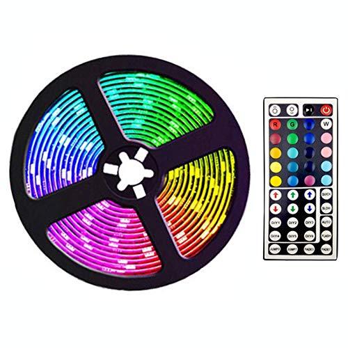 JISKGH Tira de Luces LED de 5M con 44 Teclas, Tiras de Luz RGB Que Cambian de Color Flexibles Remotas para Dormitorio, DecoracióN DIY, Enchufe de la UE