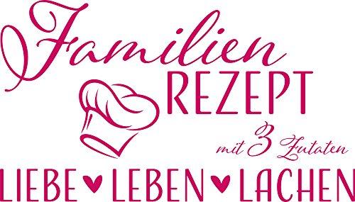 GRAZDesign Wanddeko Flur Dekoration Lustiges Motiv - Home Dekoration modern Familien Rezept - Wandtattoo Liebe Leben Lachen / 53x30cm / 041 pink