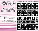 50 unterschiedliche Glitzer-Tattoo-Schablonen für Mädchen / Glitter Tattoo - Motive: Mädchen & Pferde Temporäre Tattoos