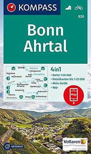 KOMPASS Wanderkarte Bonn, Ahrtal: 4in1 Wanderkarte 1:50000 mit Aktiv Guide und Detailkarten inklusive Karte zur offline Verwendung in der KOMPASS-App. Fahrradfahren. (KOMPASS-Wanderkarten, Band 820)