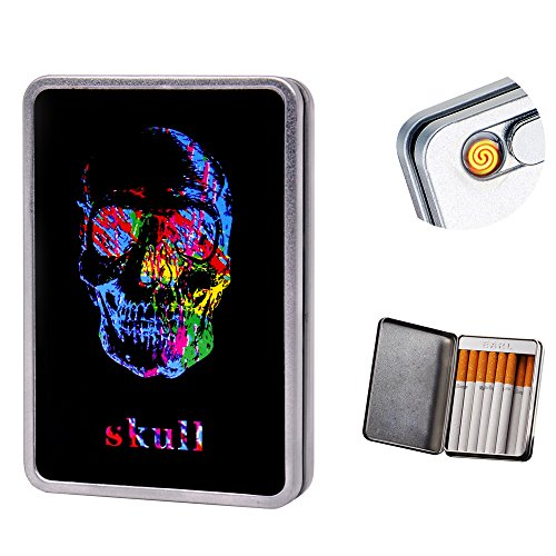 USB Lighter Cigarette Lighter Case Cigarette Box Electronic Flameless Rechargeable Windproof Lighters Hold 16 Cigarette Smoke