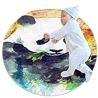 エリアラグ軽量 竹を食べる水彩パンダ フロアマットソフトカーペット直径31.5インチホームリビングダイニングルームベッドルーム