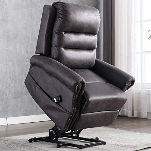 ANJ Electric Power Lift Recliner Chair for Elderly Breathable Bonded Leather with Nailhead Trim, Grey