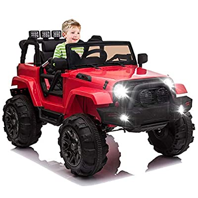 OTTARO Kids Ride on Truck, Children Electric Ride on Car w/Parent Remote Control, 12V Battery Powered Driving Trucks Cars for Boys and Girls, Spring Suspension, MP3 Player (Red)