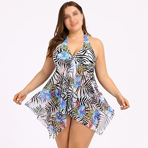 FKSDHDG Mujer Sexy Hoja Estampado Tankini Conjunto de Dos Piezas Traje de baño más tamaño Traje de baño Traje de baño Traje de baño Verano Ropa de Playa (Color : Blue, Size : XXXXX-Large Code)