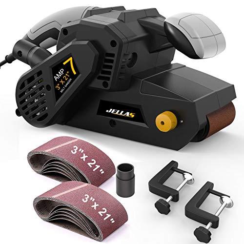 Jellas 3 × 21-Inch Belt Sander with Dust Bag, 7Amp Sander Machine with Variable-speed Control, 2 in 1 Vacuum Adapters, 10Feet (3 meters) Length Power Cord BS02-SD