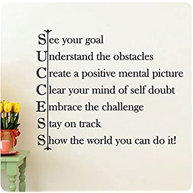 28  Success See Your Goal Understand the Obstacles Create a Positive Mental Picture Clear Your Mind of Self Doubt Embrace the Challenge Stay on Track Show the World You Can Do It! Wall Decal Sticker Art Mural Home Décor Quote Lettering