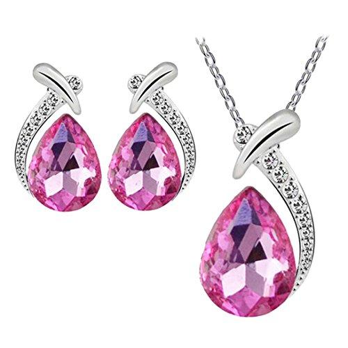 Familizo - Parure da donna con ciondolo e orecchini in pietre preziose, vetro e argento e lega, colore: rosa caldo