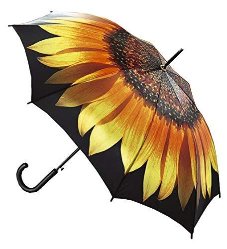 LaFiore24 Regenschirm Damen Stockschirm Automatikfunktion Holzgriff Gross windresistent Gehstock Braun-Sonnenblume