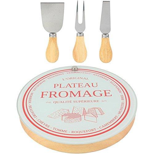 Amatable 37-1K-014 Planche plateau à fromage Ronde Avec 2 couteaux et 1 fourchette de service Beige et gris Acier inoxydable bois et verre D21,2 x H2,8 cm