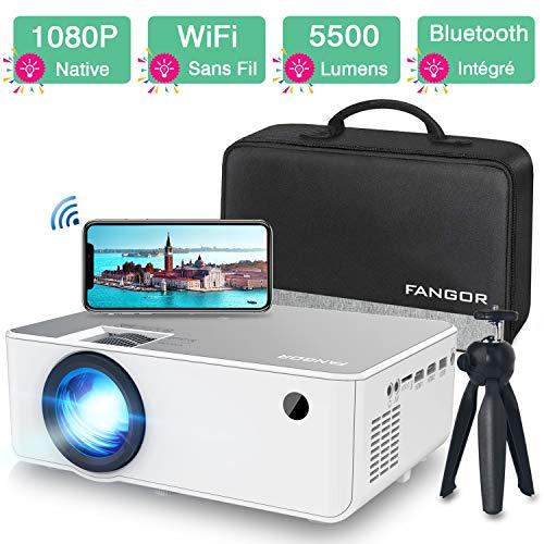 Videoprojecteur Full HD WiFi Bluetooth Natif 1080P - FANGOR Mini Retroprojecteur Portable sans Fil...
