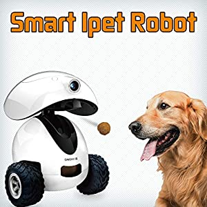 DOGNESS Smart CAM IPET Robot – Monitor Your Pet Remotely with HD Video, Two-Way Audio, Night Vision, for Dogs and Cats via APP (White)