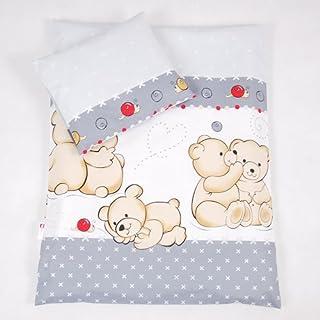 BABYLUX 2 tlg. Set Bezug für Kinderwagen Garnitur Bettwäsche Kissen Decke 60 x 78 cm TEDDYBÄREN 61. Teddybären Grau