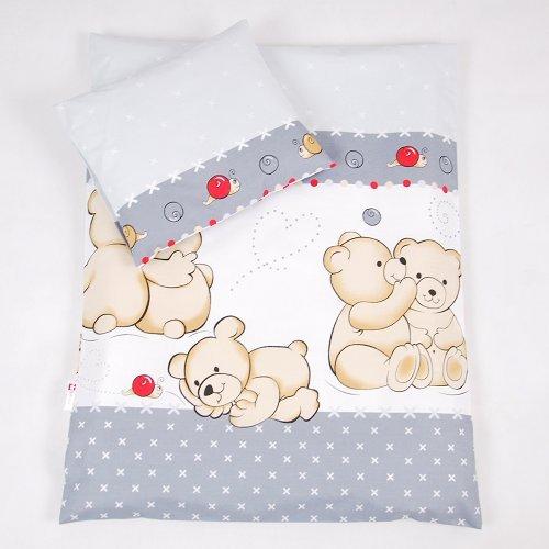 BABYLUX 2 tlg. Set Bezug für Kinderwagen Garnitur Bettwäsche Kissen Decke 60 x 78 cm TEDDYBÄREN (61. Teddybären Grau)