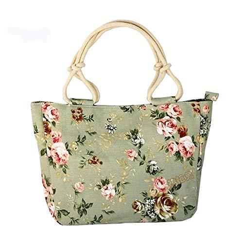 plhzh Bolso de lona informal para mujer, bolso de tela estampado en el hombro para mujer, bolso grande de tela estampado, bolso de lona portátil-4