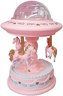 XYZMDJ rosa musikbox, färgglad karusell musikbox, urverksgåva för barn, födelsedagspresent
